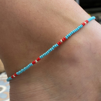 Turquoise & Red Beaded Anklet. Sterling Silver. Extension Chain.
