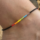 Rainbow Beaded Anklet. Sterling Silver. Extension Chain.