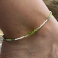 Peridot Nuggets & Czech Glass Beaded Anklet. Sterling Silver. Extension Chain.