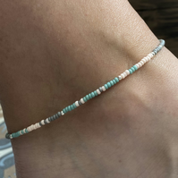 Sea Green, Pink & Grey Beaded Anklet. Sterling Silver. Extension Chain.