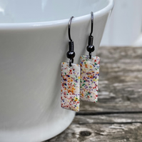 'Rainbow splat' Enamel Rectangle Earrings. Sterling silver upgrade available.