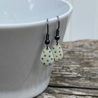 Cream & Turquoise Spot Enamel Teardrop Earrings. Sterling silver available