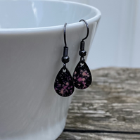 'Elfin' Enamel Teardrop Earrings. Sterling silver upgrade available.