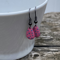Pink & Turquoise Spot Enamel Teardrop Earrings. Sterling silver available