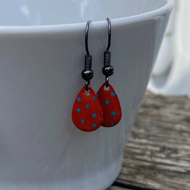 Red & Turquoise Spot Enamel Teardrop Earrings. Sterling silver available