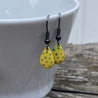 Yellow & Turquoise Spot Enamel Teardrop Earrings. Sterling silver available