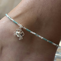 Sterling Silver Crab & Miyuki Beaded Anklet. Sterling Silver. Extension Chain.