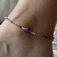 Amethyst Nugget Anklet. Sterling Silver. Extension Chain.
