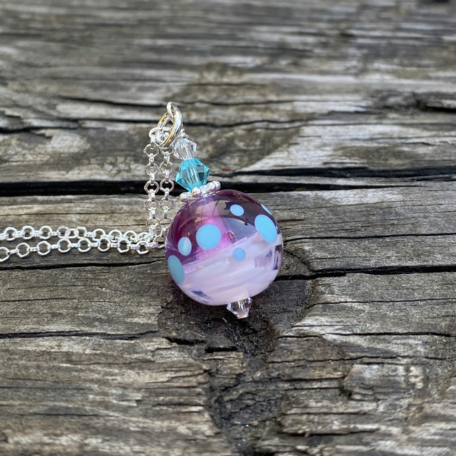 Pink round Lampwork Glass Pendant Necklace. Sterling Silver.