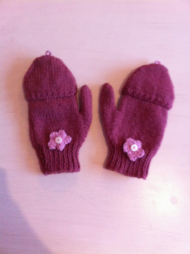Knitted fold over mittens - Folksy
