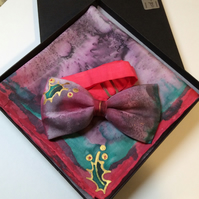 Quality, unique, hand painted Christmas bow tie and handkerchief set,100% silk