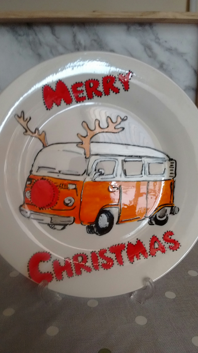 Hand painted VW Campervan Christmas plate, personalised