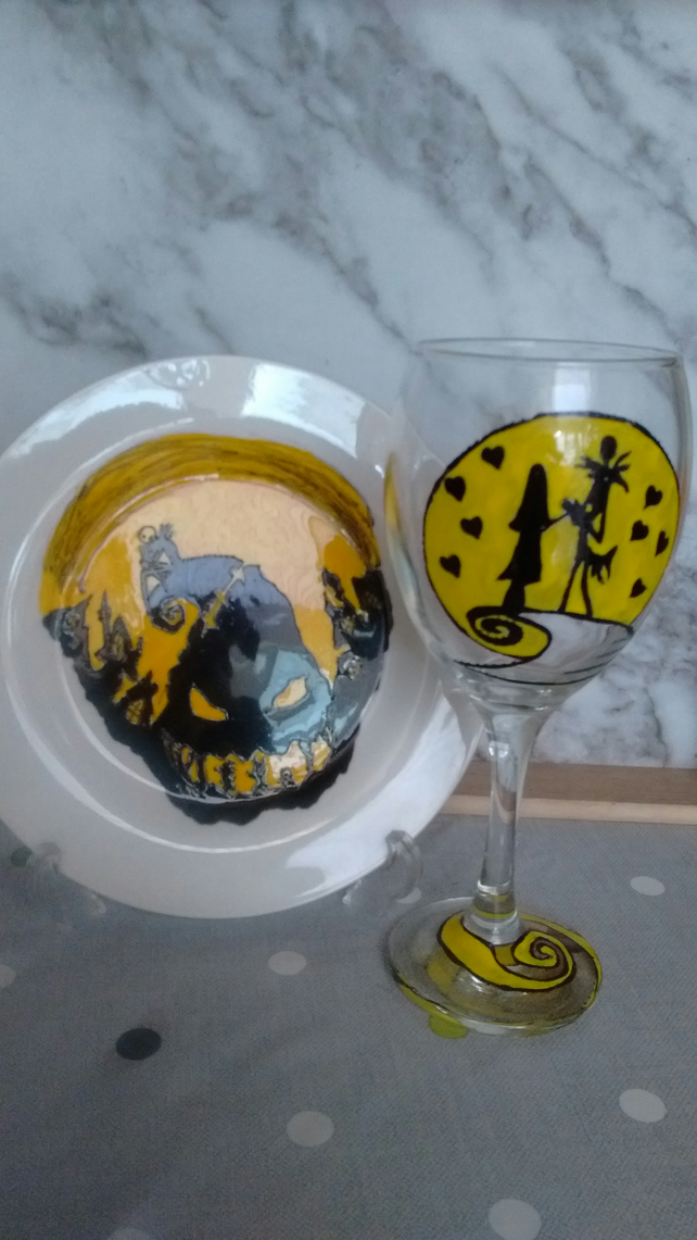Hand painted Nightmare before Christmas plate and glass personalised.