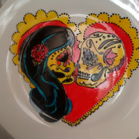 Hand painted sugar skull wedding plate personalised