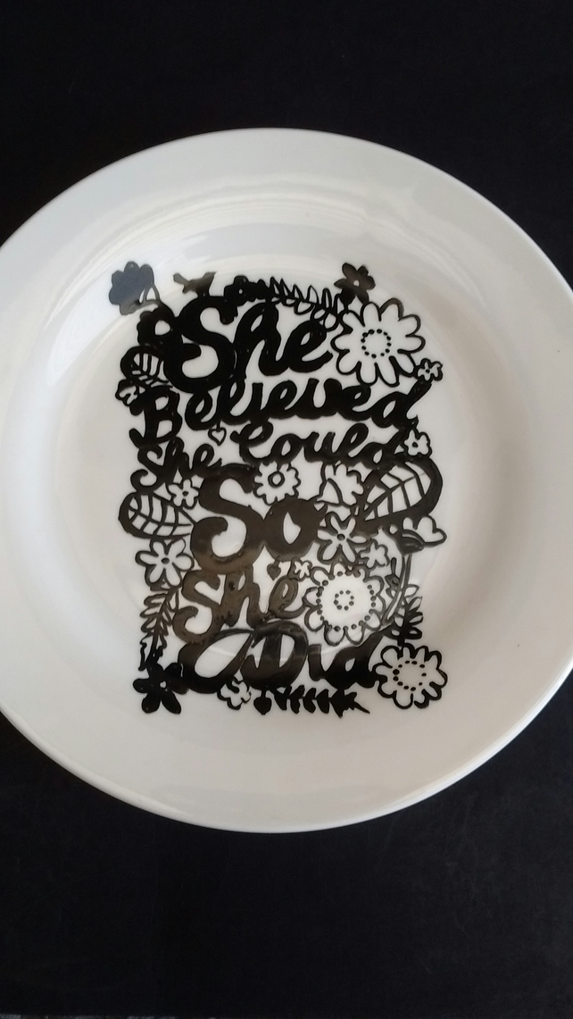 Hand painted She Believed silhouette side plate