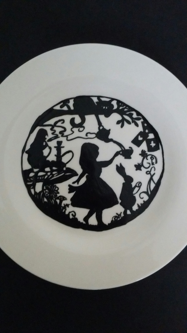 Hand painted Alice in wonderland inspired silhouette plate.