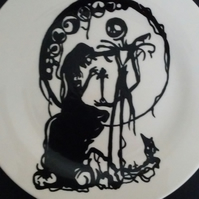 Hand painted Nightmare before Christmas inspired silhouette side plate