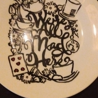 Hand painted Were All Mad Here Alice in Wonderland inspired silhouette side plat