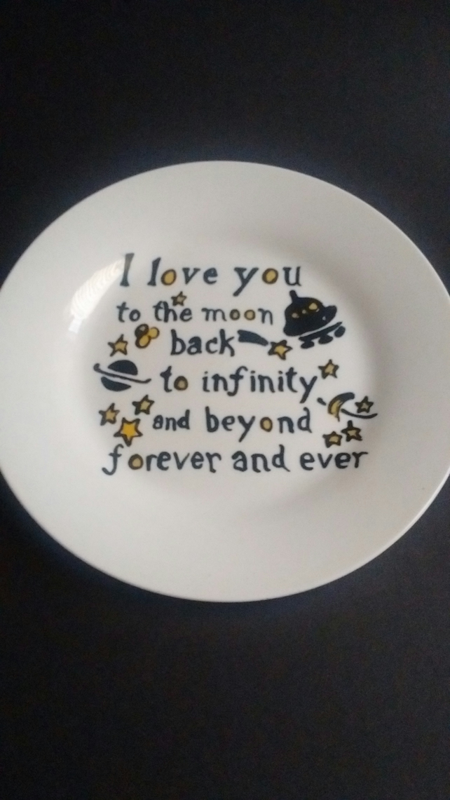 "Hand painted ""Love you to the moon and back"" side plate."