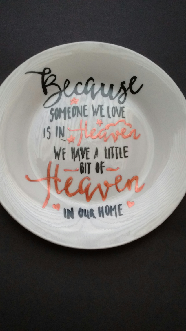 Hand painted Someone in heaven memorial side plate
