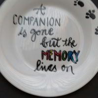 Hand painted Pet loss, memorial side plate