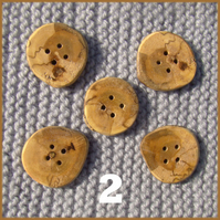 Rustic natural edged buttons 30mm