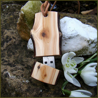 A  yew wood slice memory stick 4GB