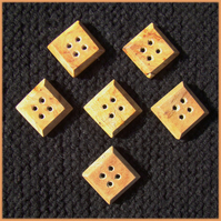 Square wooden buttons 24mm.  Set of six