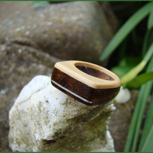 A ring in boxwood, tambootie and silver