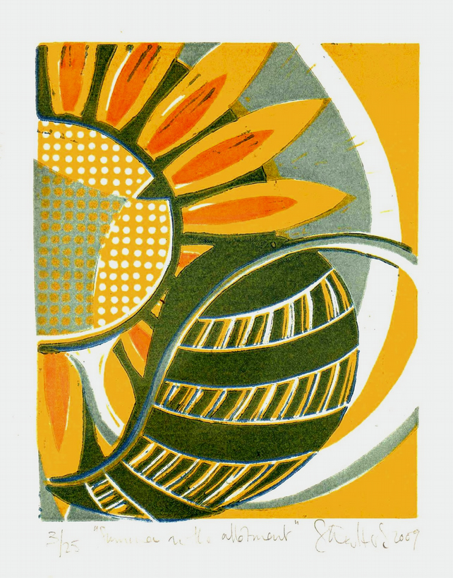 Summer on the Allotment - original 4 colour lino print