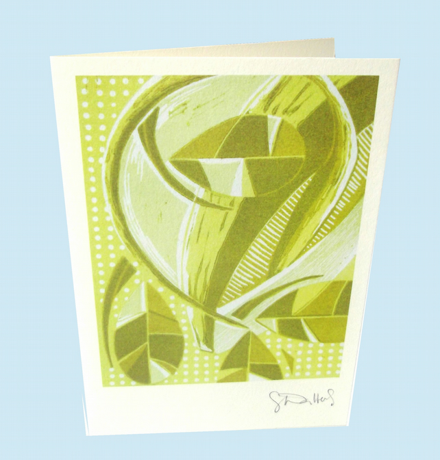 Spring - single card - from my original lino print of sprouting seeds