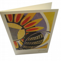 Summer - single card from my lino print of sunflowers