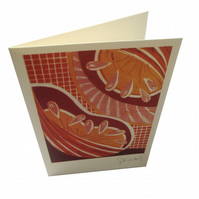 Autumn - single card - from my original lino print Autumn on the Allotment