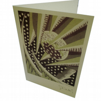 Winter - single card - from 4 colour lino print of artichoke seed head