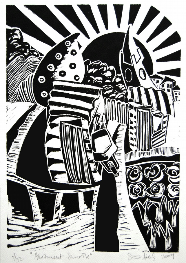 Allotment Sunrise - original lino print of vegetable gardens at daybreak.