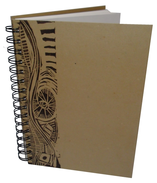 A5 Portrait Eco Sketchbook or Notebook- Hand printed Lino Design in Charcoal