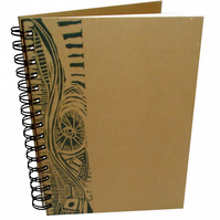 A5 Portrait Eco Sketchbook or Notebook- Hand printed Lino Design