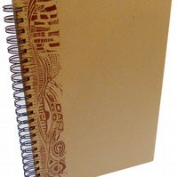 A4 Portrait Eco Sketchbook or Notebook- Hand printed Lino Design