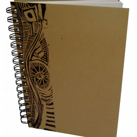 A6 Portrait Eco Sketchbook or Notebook- Hand printed Lino Design