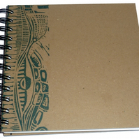 Square  Eco Sketchbook Or Notebook- Hand Printed Lino Design - Petrol