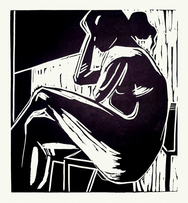 Nude - Original lino print done directly from life model