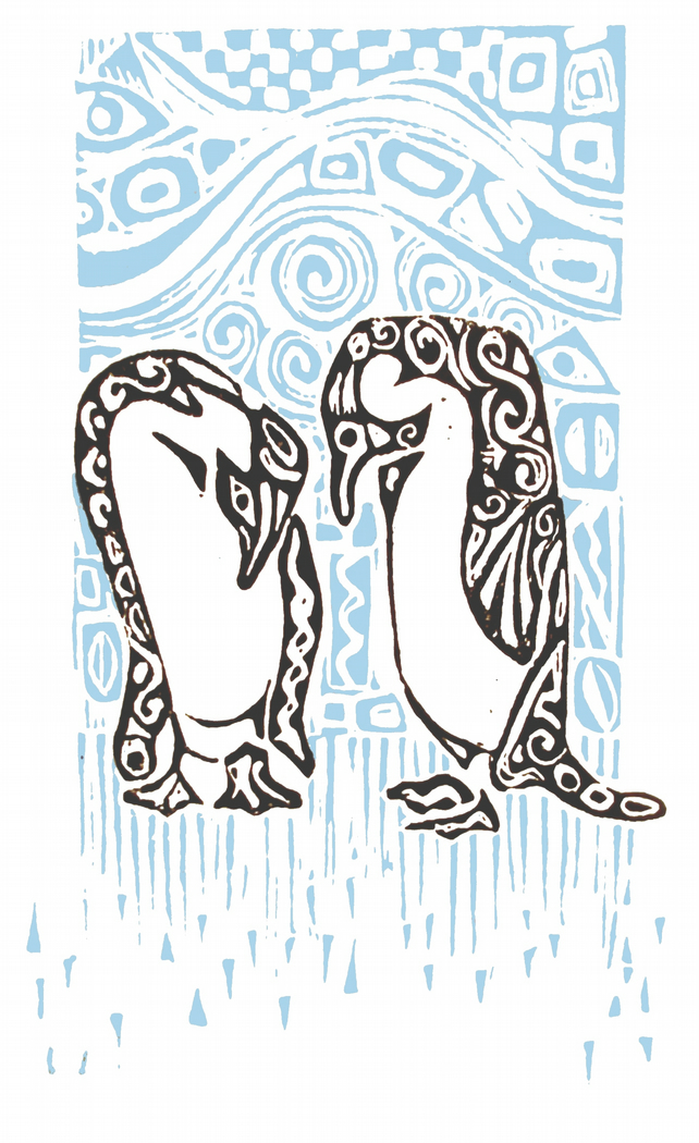 Blizzard - Original Lino print of Penguins in the snow