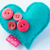 Heart Felt brooch...Funky Hot Pink and Bright Blue
