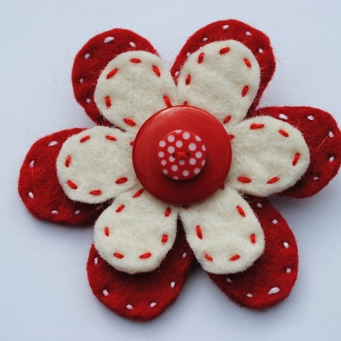Wool Felt Flower Brooch..Red and White
