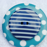 Button Brooch...Blue Spots