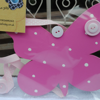 Hairclip Holder,Tidy..Hot Pink Butterfly
