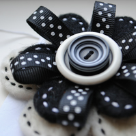 Wool Felt Brooch, Black and White