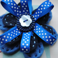Wool Felt Brooch, Blue flower