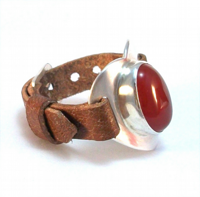 Heart design Silver and Carnelian adjustable ring, Silver and leather ring