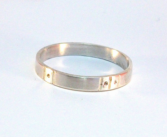 Art Deco sterling silver band ring